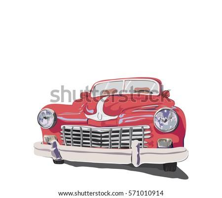 Red retro vintage old timer car.Vector illustration.