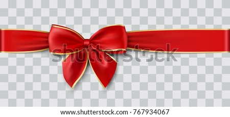 red ribbon and bow with gold for Christmas, vector illustration #767934067