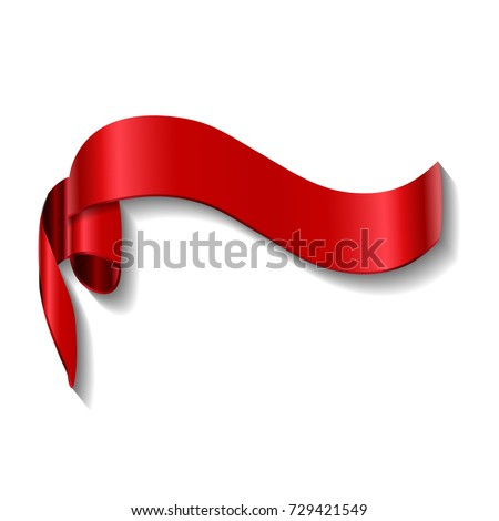 Red ribbon banner. Shiny red ribbon on white background.