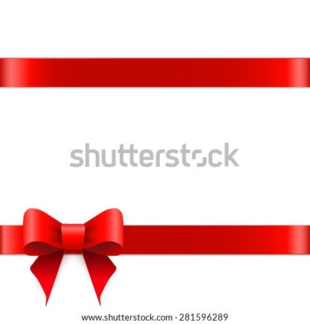 Red ribbon bow horizontal border   #281596289