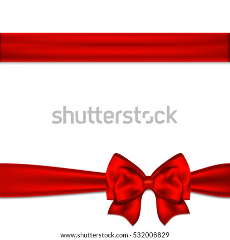 Red ribbon bow horizontal border. Vector illustration.