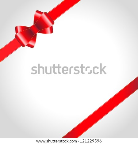 Red ribbon bow on shined background. Vector illustration