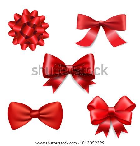 Red Ribbon Bow Set
