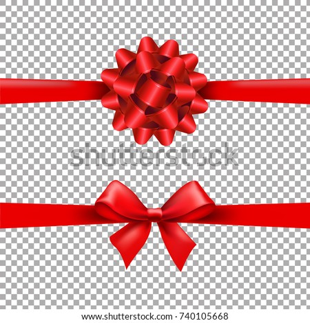 Red Ribbon Bow Set In Transparent Background With Gradient Mesh, Vector Illustration