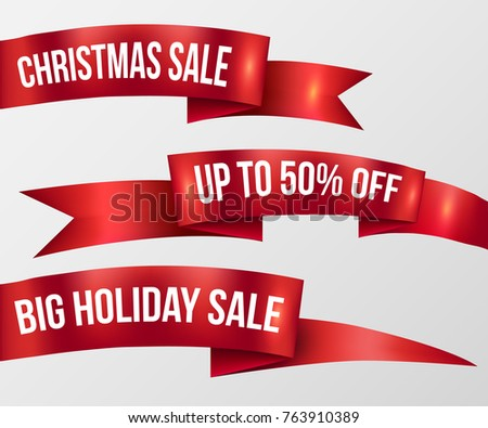 Red ribbon Christmas Sale, Holiday Sale promotion badge emblem banner set. Red sign isolated. Vector illustration realistic style.