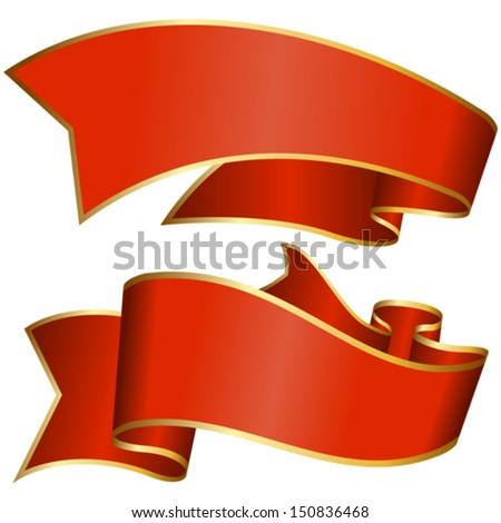 Red ribbon collection isolated on white background