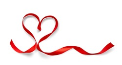 Red ribbon heart shape isolated on white background. Xmas present. Holiday decoration. Realistic 3d vector illustration.