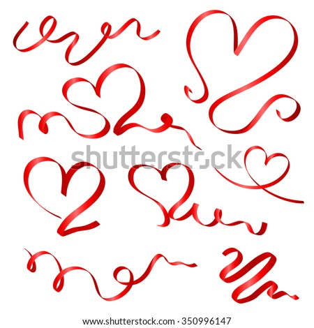 red ribbon hearts vector