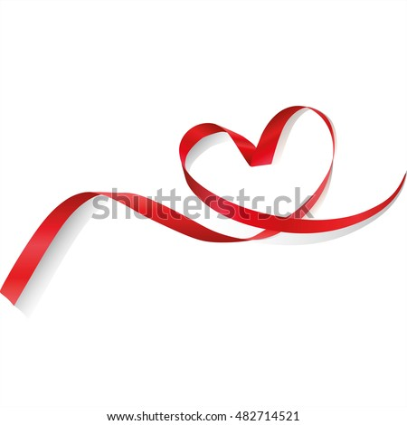 Red ribbon in heart shape. Valentines day Or Medical Concept/ white background