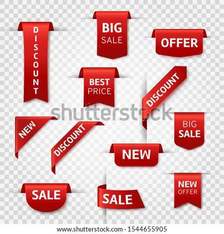 Red ribbon labels. Big sale, new offer and best price, discount silk scarlet promotional event banners. Isolated vector limited shopping exclusive stickers and badges templates