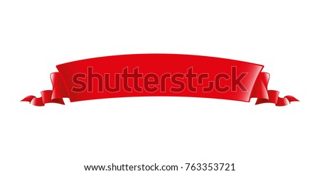 red ribbon. long volume curved...
