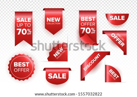 Red ribbon of price tag, sale promo, new offer vector bundle set.