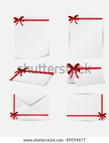 Red ribbon on  white papers
