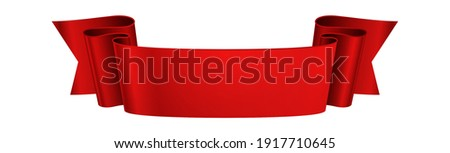 Red ribbon. Realistic glossy banner, 3d festive or advertisement wavy elegance tape, empty curled paper or satin decorative element, blank vector decor with copy space isolated on white background