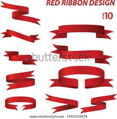 red ribbon sets vector illustration and sticker design