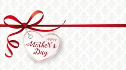 Red ribbon wallpaper with red heart and ornaments for the Mothers Day. Eps 10 vector file.