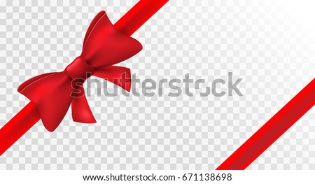 Red ribbon with red bow. Vector isolated bow decoration for holiday present. Gift element for card design.
