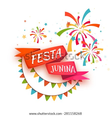 Red ribbon with title for Brazil june party. Vector illustration.