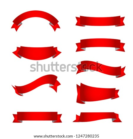 Red ribbons collection vector on white background
