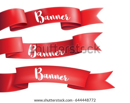 Red ribbons horizontal banners set flat isolated on on the white background, vector illustration