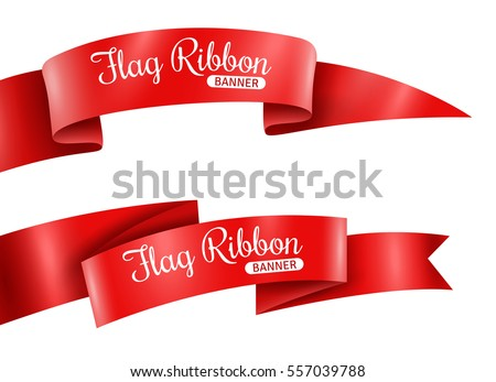 Red ribbons horizontal banners set flat isolated vector illustration #557039788