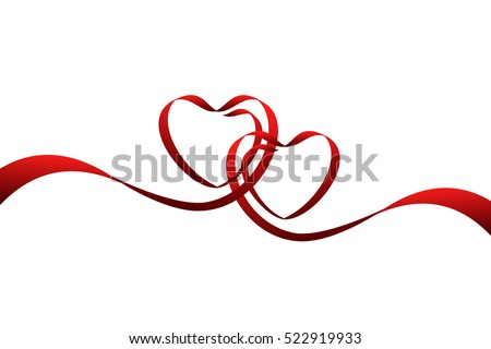 red ribbons in shape of two