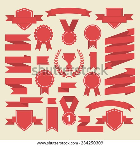 Red ribbons,medal,award,cup set isolated on white background.Vector.Banner web