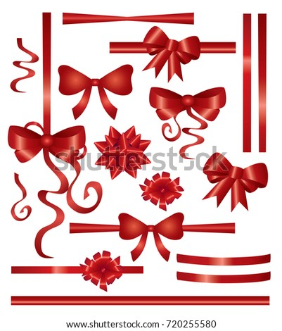 red ribbons set  isolated