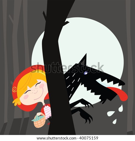 red riding hood and black wolf