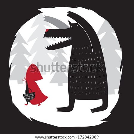 Red Riding Hood and wolf walking in the woods. Wolf swallowed grandmother. Red Riding Hood fairy tale.