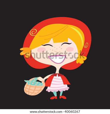 Red Riding Hood isolated on black background. Little Red Riding Hood. Vector Illustration. Isolated on black background.