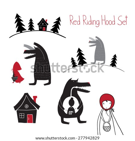 Red Riding Hood set. Wolf walking in the woods. Wolf swallowed grandmother. Red Riding Hood fairy tale.
