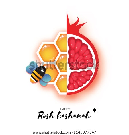 Red ripe pomegranate and gold honeycomb. Jewish New Year, Rosh Hashanah Greeting card. Origami Honey Bee in paper cut style. Happy holiday in Hebrew. White background.