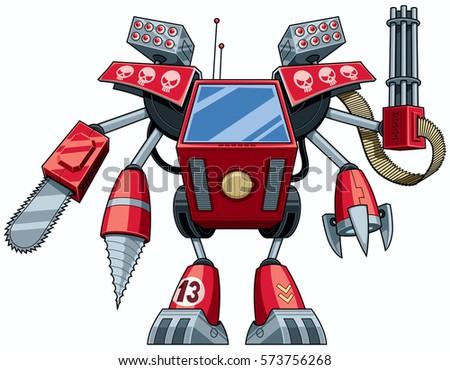 red robot in full battle gear