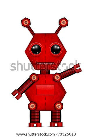 Red Robot On white Background
