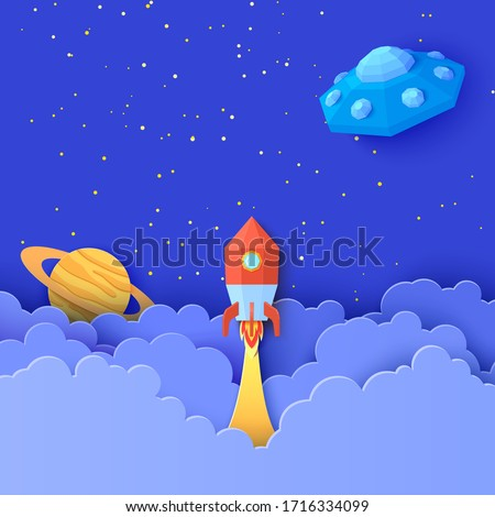 Red rocket launch in space in paper cut style. Galaxy universe landscape 3d craft background with Flying saucer in starry sky clouds. Cardboard cutout Saturn planet and UFO. Vector kids illustration
