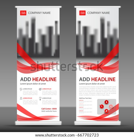 Red Roll up banner stand template design, flyer layout vector
