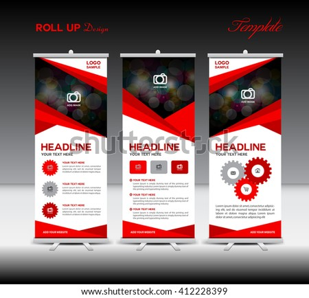 Red Roll Up Banner template and info graphics, stand design, advertisement, flyer, display vector illustration