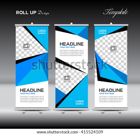 Red Roll Up Banner template vector illustration,polygon background, standy design,  display, advertisement, display layout