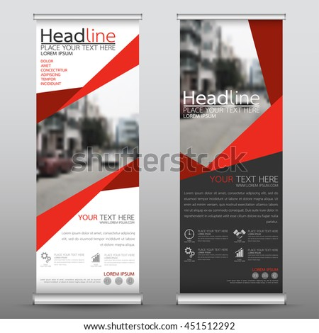 Red roll up business banner design vertical template vector, advertising presentation abstract geometric background, modern publication display and flag-banner, layout in rectangle size.