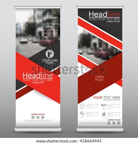 Red roll up business banner design vertical template vector, cover presentation abstract geometric background, modern publication display and flag-banner, layout in rectangle size.