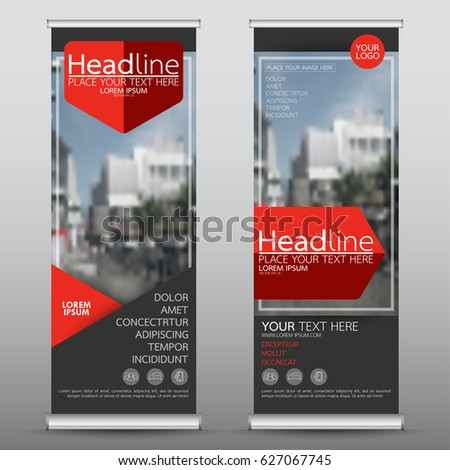 Red roll up business banner design vertical template vector, cover presentation abstract geometric background, modern publication display and flag-banner, layout in rectangle