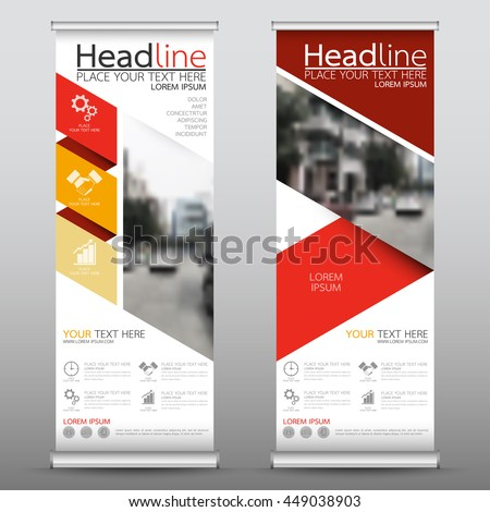 Red roll up business brochure flyer banner design vertical template vector, cover presentation abstract geometric background, modern publication x-banner and flag-banner, layout in rectangle size.