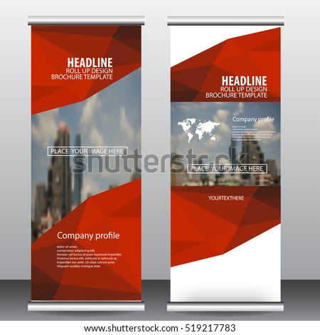 Red roll up business brochure flyer banner design vertical template vector, cover presentation ,infographics , abstract geometric background, modern publication x-banner and flag-banner,carpet design.