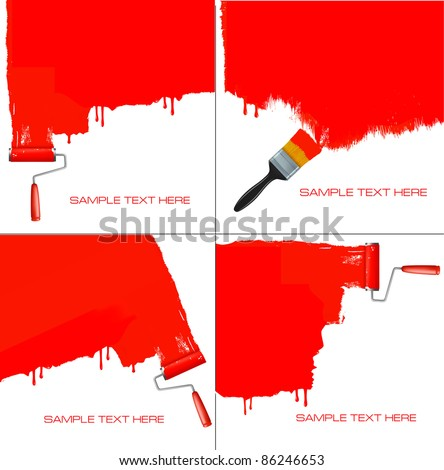 red roller painting the white