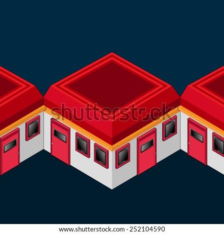 red roof motel inn design isometric vector