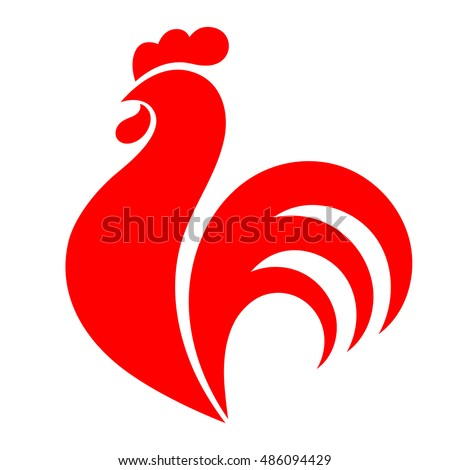 Red rooster, chicken, cock. Abstract vector illustration, logo, icon