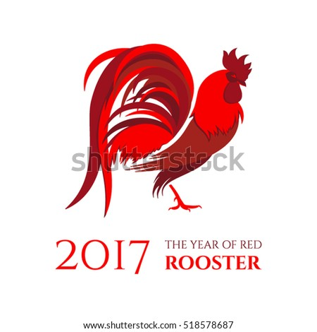 red rooster  symbol of 2017 on