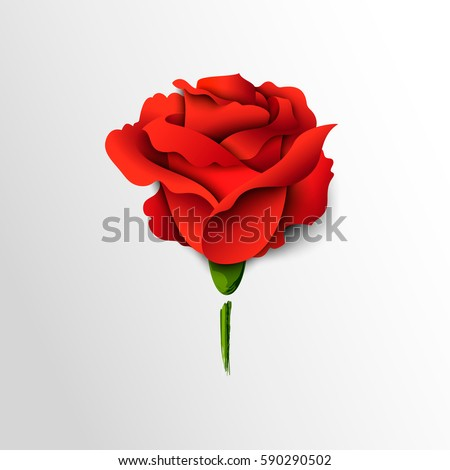 red rose cut out of paper