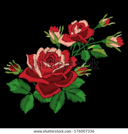 red rose embroidery on black